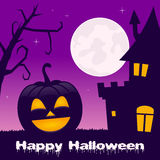 Halloween a hanté la Chambre, le potiron et l'arbre Photo stock