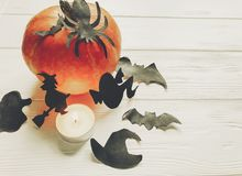 Halloween. happy halloween concept. pumpkin with witch ghost bat. S and spider black decorations on white wooden background. cutouts for autumn holiday Stock Photo