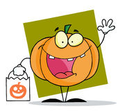 Halloween happy pumkin bag Stock Image