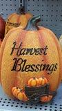 Halloween Harvest Blessings. Artificial pumpkin decoration stock photography