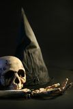 Halloween hat and skull stock image