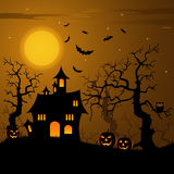 Halloween haunted castle with bats background Royalty Free Stock Photos