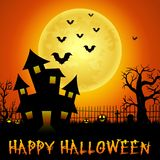 Halloween haunted castle with bats and trees Royalty Free Stock Photos