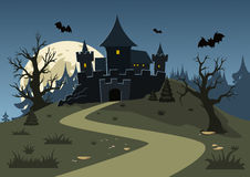 Halloween haunted castle, trees, bats, and a full moon. Stock Photography