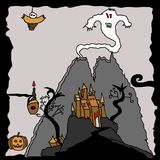 Halloween haunted ghost castle landscape. Obscure picture with spectral monsters and formidable features Stock Photos