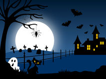 Halloween Haunted House [1]. A Halloween haunted house night scene Royalty Free Stock Photography