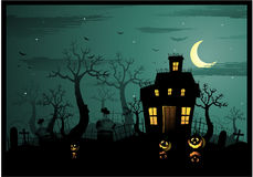 Halloween haunted house stock illustration