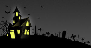 Halloween Haunted House. On a dark and spooky night stock illustration