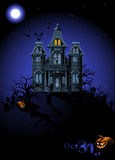 Halloween Haunted House. Highly detailed Halloween haunted house on the cemetery Royalty Free Illustration