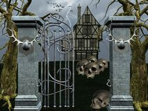 Halloween haunted house. With skulls Stock Images