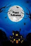 Halloween Haunted House. Illustration of halloween haunted house in scary night Stock Images