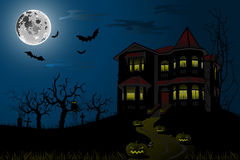 Halloween Haunted House. Illustration  background, Halloween Haunted House Royalty Free Stock Images
