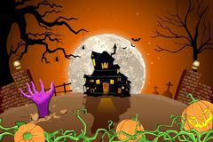 Halloween Haunted House. Illustration of halloween haunted house in scary night Stock Photos