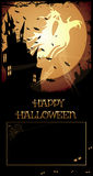 Halloween Haunted House. /Night with haunted house,graveyard,ghosts, crow,Happy Halloween text and copy-space Royalty Free Stock Image
