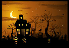 Halloween haunted house background Royalty Free Stock Photos