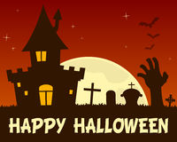 Halloween Haunted House and Cemetery Stock Photo