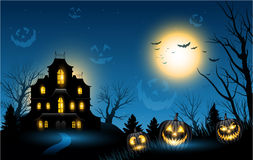 Halloween haunted house copyspace background. Horizontal Halloween haunted house copyspace background Stock Photography