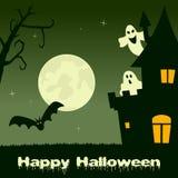 Halloween Haunted House, Ghosts & Bats Stock Photos
