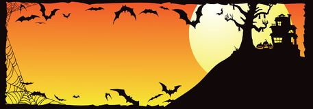 Halloween Haunted House on Hill With Bats_B Stock Image