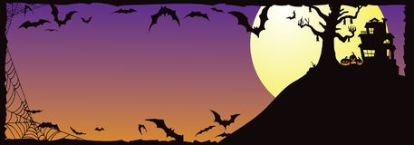 Halloween Haunted House on Hill With Bats_A Stock Image