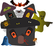 Halloween Haunted House Illustration. Halloween haunted house with spiders, bats, spider webs, ghosts, brown spider, green ghost, blue ghost, black and red bat Stock Images
