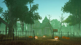 Halloween haunted house at misty dusk. Abandoned haunted house with carved Halloween pumpkins on its path and creepy dead trees around at misty dusk. 3D Royalty Free Stock Images