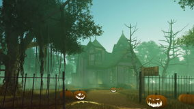 Halloween haunted house at misty dusk 4K. Motion to the porch of abandoned haunted house with carved Halloween pumpkins on its path and creepy dead trees around vector illustration