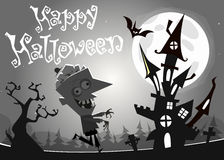 Halloween haunted house on night background with a walking dead zombie. Vector  illustration. Black and white Royalty Free Stock Photography
