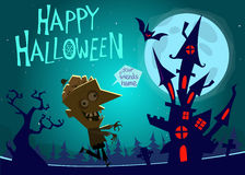 Halloween haunted house on night background with a walking zombie. Vector  illustration Royalty Free Stock Image