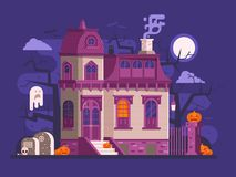 Halloween Haunted House Scene Stock Images