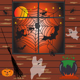 Halloween haunted house vector illustration Royalty Free Stock Photos