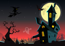 Halloween haunted moonlight night background with spooky house and cemetery, can be use as flyer Royalty Free Stock Image