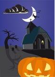 Halloween haunted pumpkin Stock Photo