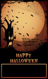 Halloween Haunted Tree. /Night at graveyard with haunted tree,tombstones,and spider,Happy Halloween text and copy-space Royalty Free Stock Photography