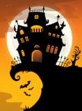 Halloween-Hausschattenbildthema 2 Lizenzfreie Stockfotografie