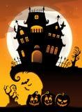 Halloween-Hausschattenbildthema 3 Lizenzfreie Stockfotos