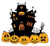 Halloween-Hausschattenbildthema 4 Stockbilder