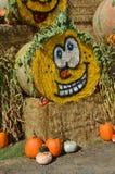 Halloween Hay Bale en Gervis, Oregon Imagenes de archivo