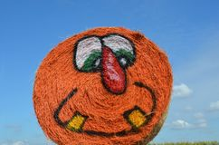 Halloween Hay Bale in Gervis, Oregon. This is a rolled hay bale at Bauman Farm in Gervis, Oregon decorated for Halloween with a pumpkin face Royalty Free Stock Photography