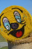 Halloween Hay Bale in Gervis, Oregon. This is a rolled hay bale at Bauman Farm in Gervis, Oregon decorated for Halloween with a pumpkin face Royalty Free Stock Image