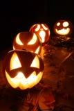 Halloween-hefboom-o-lantaarn pompoenen Stock Fotografie