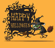 Halloween-heks die op bezem vliegen Stock Foto's