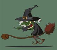 Halloween-heks die op bezem vliegen Royalty-vrije Stock Afbeelding