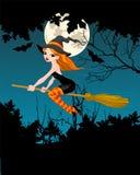 Halloween-Heksenbanner Stock Afbeeldingen