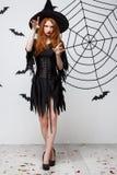 Halloween-heksenconcept - Halloween-Heks het gieten werktijden de Van gemiddelde lengte met ernstige uitdrukking over donkere gri Royalty-vrije Stock Foto's