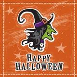 Halloween-heksenillustratie, het gelukkige ontwerp van de groetkaart, sinaasappel Royalty-vrije Stock Fotografie