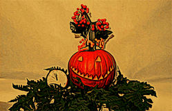 Halloween. Helloween photo painting feast of world traditions gourd pumpkin fairy tale backdrop banner Royalty Free Stock Photography