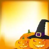 Halloween-Herbsthintergrund mit drei Kürbisen, Lizenzfreie Stockfotos