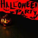 Halloween-het concept van de partijuitnodiging, lantaarn van de pompoen de hoofdkom  Stock Foto