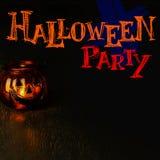 Halloween-het concept van de partijuitnodiging, lantaarn van de pompoen de hoofdkom  Royalty-vrije Stock Afbeelding